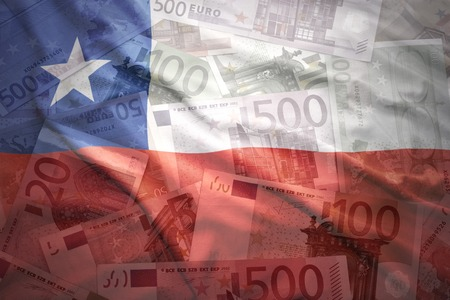 chilean flag: colorful waving chilean flag on a euro money background