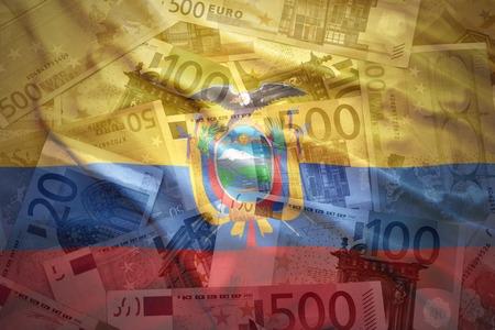 ecuadorian: colorful waving ecuadorian flag on a euro money background