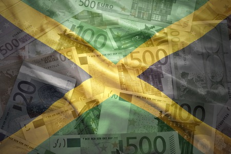 jamaican flag: colorful waving jamaican flag on a euro money background