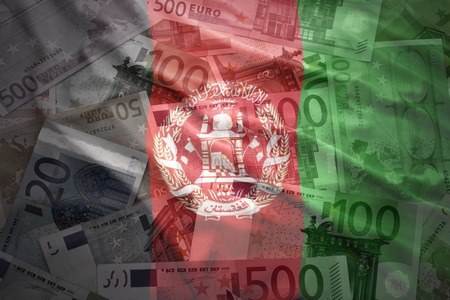 arabic currency: colorful waving afghanistan flag on a euro money background
