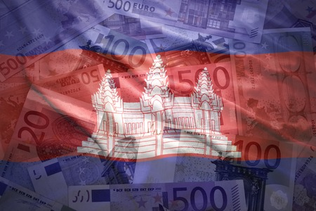 cambodian: colorful waving cambodian flag on a euro money background
