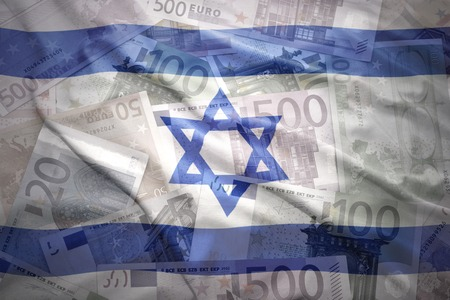 israeli flag: colorful waving israeli flag on a euro money background