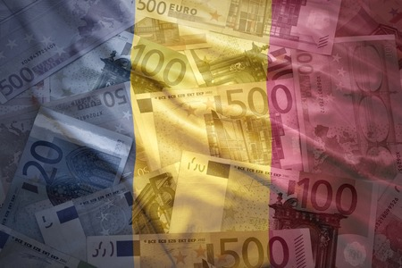 chad: colorful waving chad flag on a euro money background