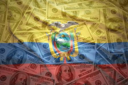 ecuadorian: colorful waving ecuadorian flag on a american dollar money background Stock Photo