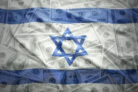 israeli flag: colorful waving  israeli flag on a american dollar money background
