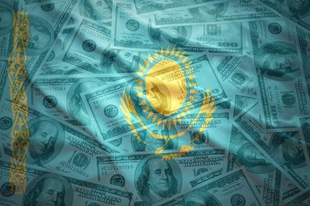 kazakh: colorful waving kazakh flag on a american dollar money background Stock Photo