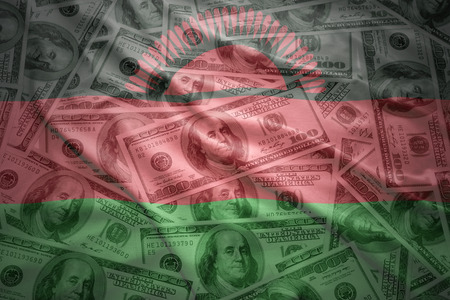 malawi flag: colorful waving malawi flag on a american dollar money background