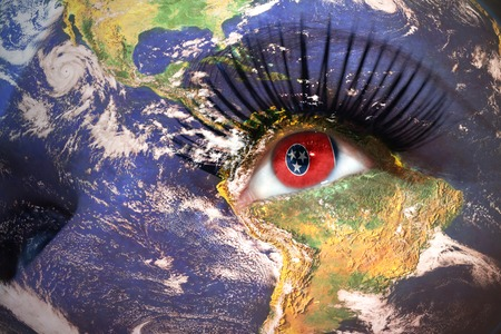 us sizes: womans face with planet Earth texture and tennessee state flag inside the eye.