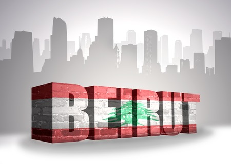 beirut: text Beirut with national flag of Lebanon near abstract silhouette of the city