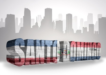 domingo: text santo domingo with national flag of dominican republic near abstract silhouette of the city Stock Photo
