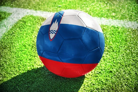 winning pitch: football ball with the national flag of slovenia lies on the green field near the white line