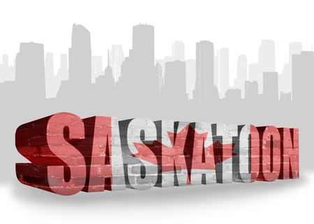 text Saskatoon with national flag of canada near abstract silhouette of the city
