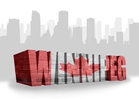 winnipeg: text Winnipeg with national flag of canada near abstract silhouette of the city