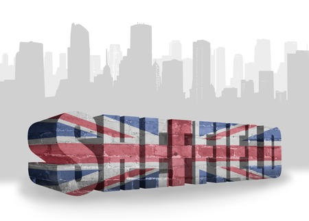 sheffield: text Sheffield with national flag of great britain near abstract silhouette of the city