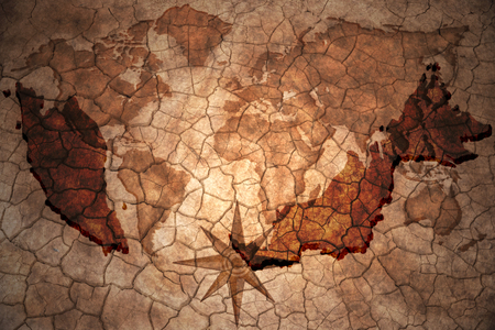 malaysia map on vintage crack paper background