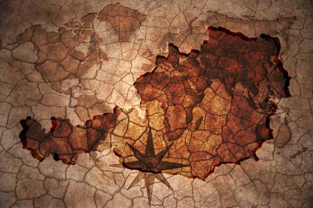 austria map: austria map on vintage crack paper background