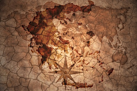 old flag: greece map on vintage crack paper background Stock Photo