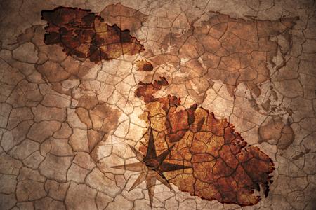 malta map: malta map on vintage crack paper background