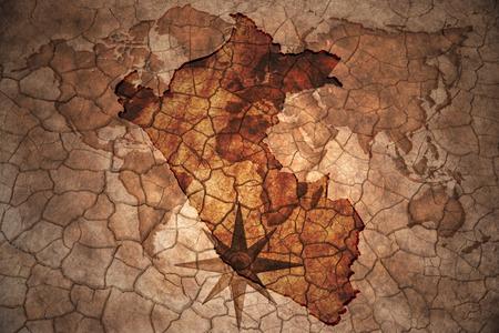 peru map on vintage crack paper background