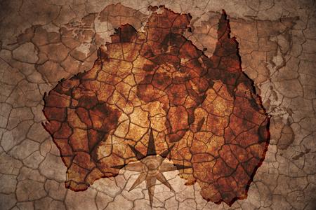 australia: australia map on vintage crack paper background Stock Photo
