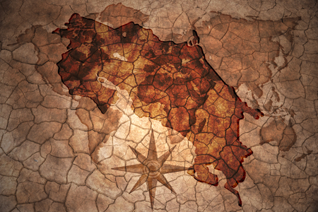 costa rican flag: costa rica map on vintage crack paper background Stock Photo