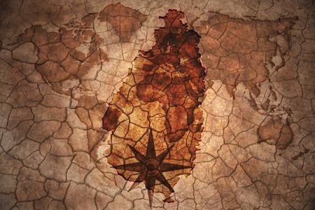 lucia: saint lucia map on vintage crack paper background