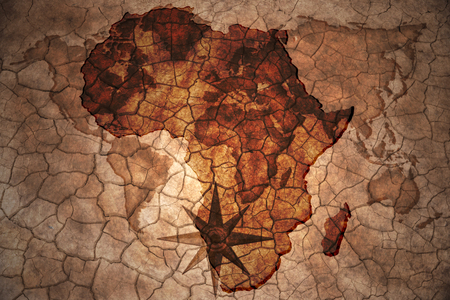 conflicto: Mapa de �frica en la grieta de la vendimia fondo de papel