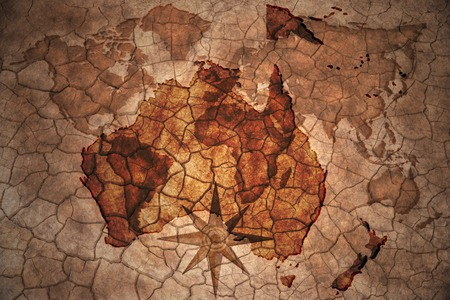 oceania: oceania map on vintage crack paper background