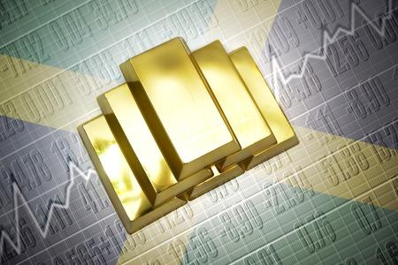 jamaican flag: Shining golden bullions lie on a jamaican flag background Stock Photo