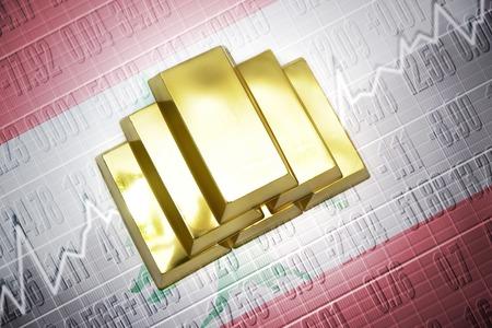 lebanese: Shining golden bullions lie on a lebanese flag background
