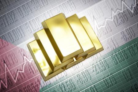 palestinian: Shining golden bullions lie on a palestinian flag background