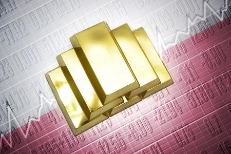 bandera de polonia: Luminoso lingotes de oro se encuentran en un fondo de la bandera polaco Foto de archivo