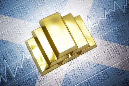 scottish flag: Brillanti lingotti d'oro si trovano su uno sfondo di bandiera scozzese
