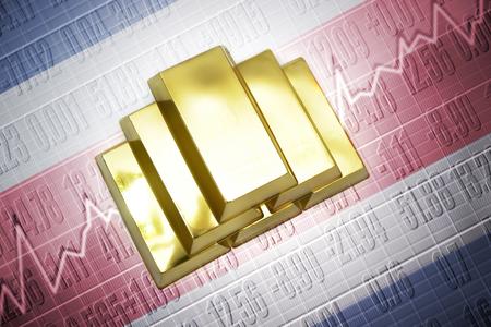 bandera de costa rica: Luminoso lingotes de oro se encuentran en un fondo de la bandera de Costa Rica