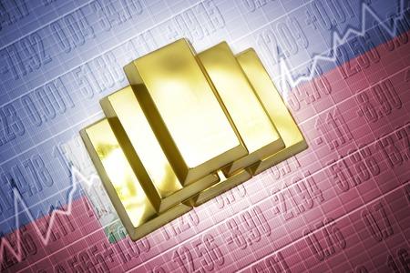 haitian: Shining golden bullions lie on a haitian flag background Stock Photo