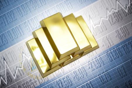 nicaraguan: Shining golden bullions lie on a nicaraguan flag background