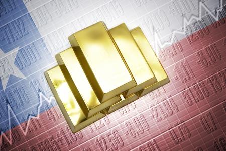 chilean flag: Shining golden bullions lie on a chilean flag background