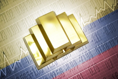 colombian: Shining golden bullions lie on a colombian flag background Stock Photo