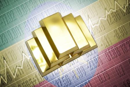 ethiopian: Shining golden bullions lie on a ethiopian flag background