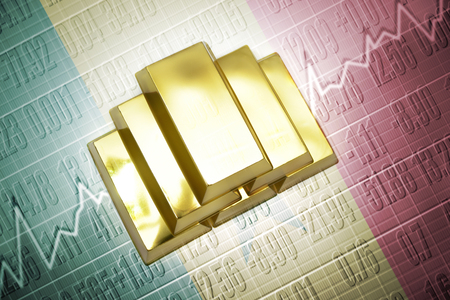 senegalese: Shining golden bullions lie on a senegalese flag background Stock Photo