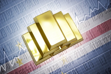 cape verde flag: Shining golden bullions lie on a cape verde flag background