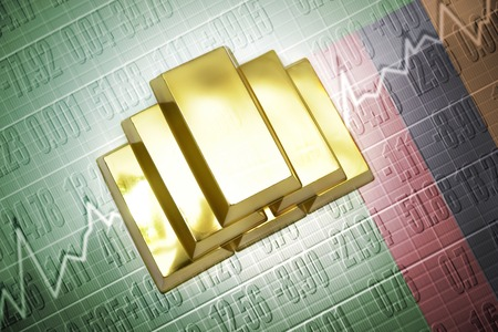 zambian flag: Shining golden bullions lie on a zambian flag background