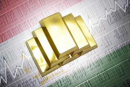 economy of tajikistan: Shining golden bullions lie on a tajikistan flag background