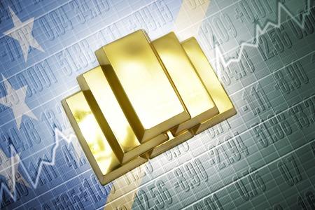 solomon: Shining golden bullions lie on a Solomon Islands flag background