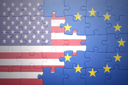 puzzle with the national flag of united states of america and european union .concept Stock Photo