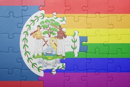 bandera gay: puzzle con la bandera nacional de Belice y la bandera gay.