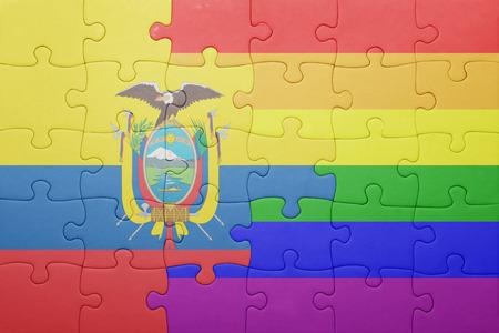 bandera gay: puzzle con la bandera nacional de Ecuador y la bandera gay.