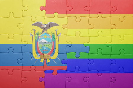 homosexual partners: puzzle with the national flag of ecuador and gay flag.