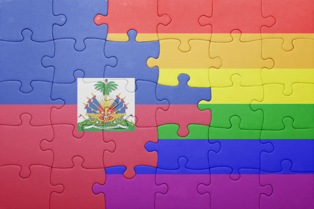 port au prince: puzzle with the national flag of haiti and gay flag. Stock Photo