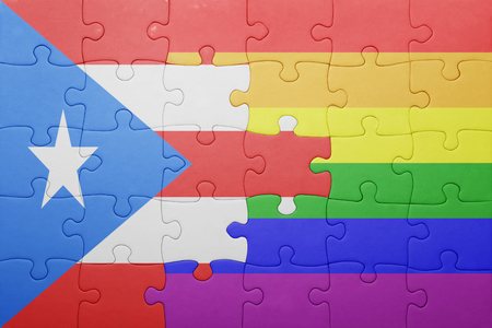 bandera de puerto rico: puzzle with the national flag of puerto rico and gay flag.